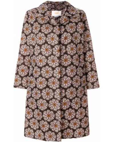 Коричневое пальто с цветочным принтом La Doublej