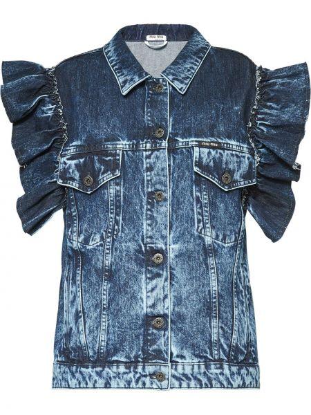 Джинсовая куртка на пуговицах с карманами Miu Miu