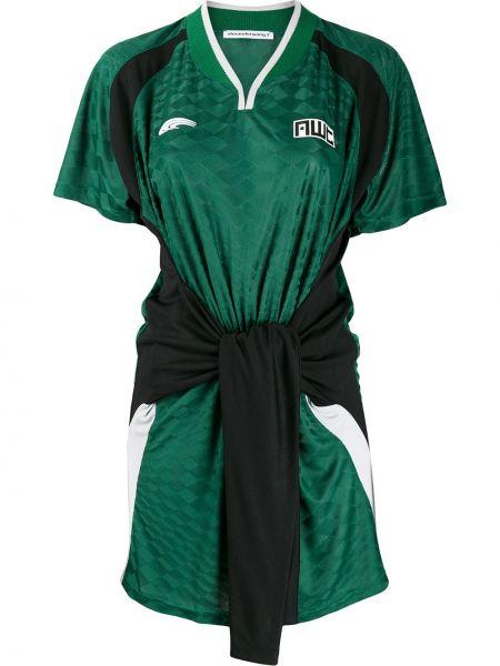 Sukienka mini z kołnierzem zielona Alexander Wang