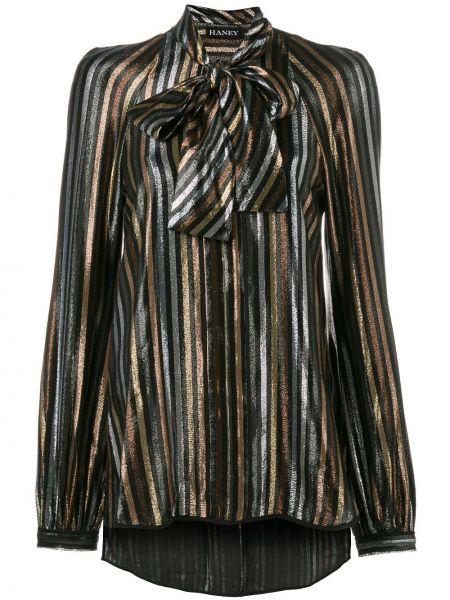 Шелковая черная блузка с V-образным вырезом Haney