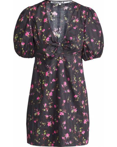 Черное платье в цветочный принт стрейч Pam & Gela