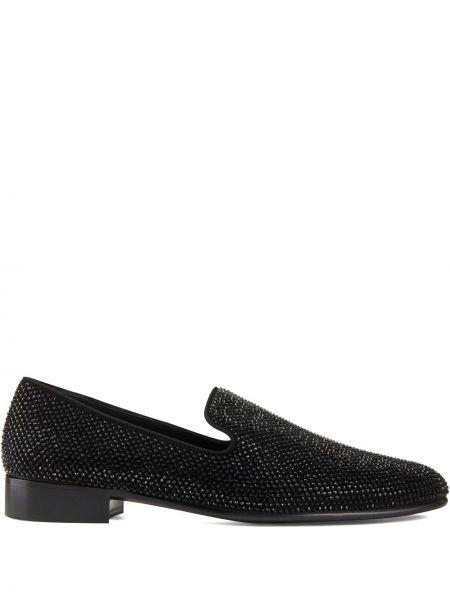 Skórzany czarny loafers na pięcie z brokatem Giuseppe Zanotti