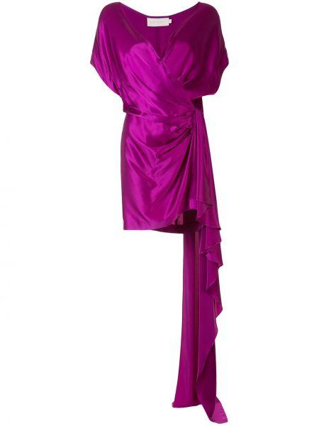 Шелковое розовое платье с V-образным вырезом на молнии Michelle Mason