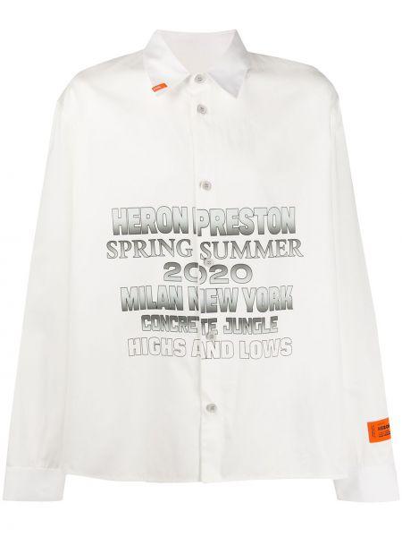 Biała klasyczna koszula bawełniana z długimi rękawami Heron Preston