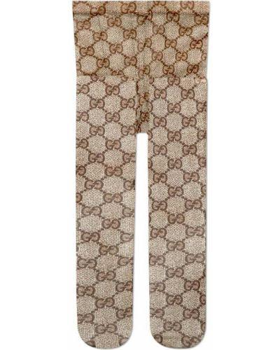 Колготки с узором коричневый Gucci