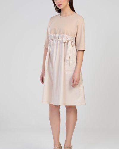 Платье с карманами - бежевое прима линия