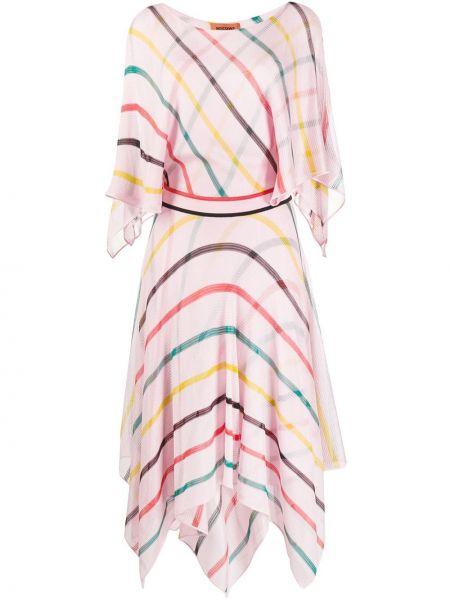 Платье с поясом в полоску с рукавами Missoni
