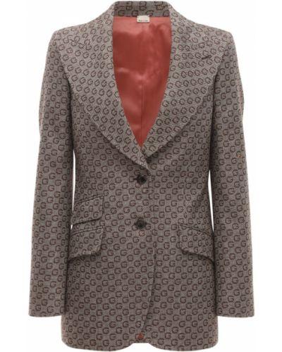 Пиджак с подкладкой на пуговицах жаккардовый Gucci