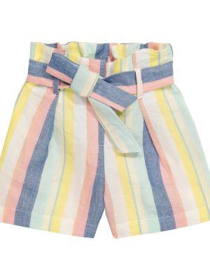 Хлопковые шорты в полоску с нашивками Bonpoint