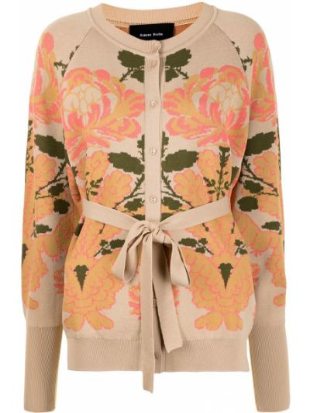 Beżowy długi płaszcz w kwiaty z wiskozy Simone Rocha