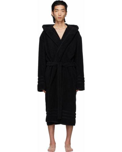 Czarny długi szlafrok bawełniany z kapturem Balenciaga