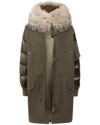 Куртка с капюшоном милитари из кролика Army Yves Salomon