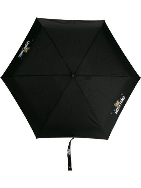 Зонт с логотипом - черный Moschino