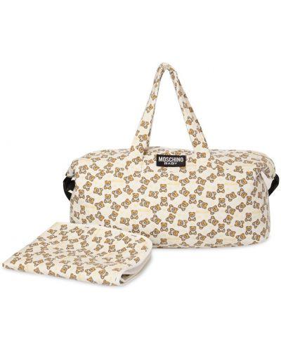 Biała torba na ramię bawełniana z printem Moschino