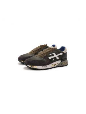 Кожаные кроссовки хаки Premiata