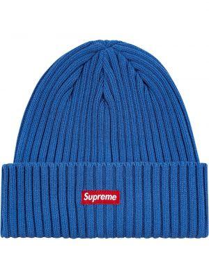 Niebieska czapka z akrylu Supreme