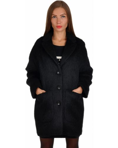 Черное пальто из альпаки Patrizia Pepe