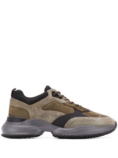 Кожаные кроссовки - зеленые Hogan