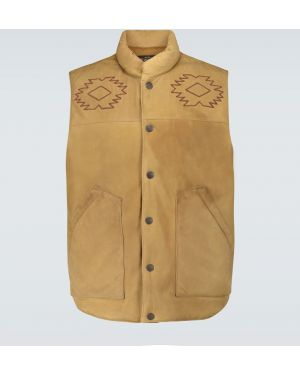 С ремешком коричневая жилетка с вышивкой с американской проймой Rrl