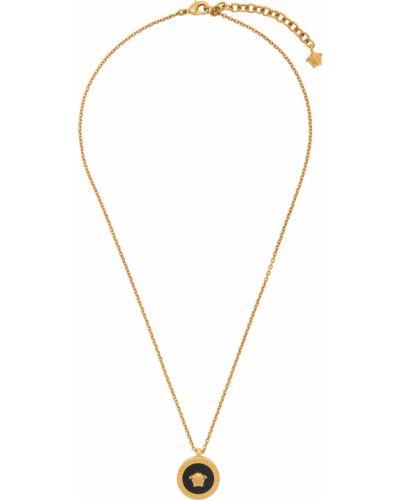 Czarny złoty naszyjnik łańcuch Versace