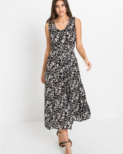 Черное платье миди без рукавов на пуговицах Bonprix