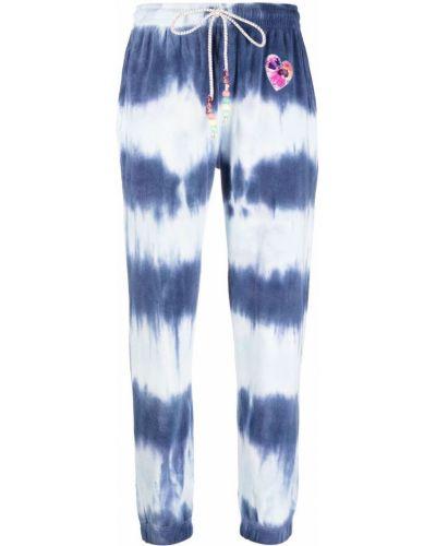 Niebieskie spodnie bawełniane z printem Loveshackfancy