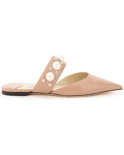Sandały skorzane z paskiem perły Jimmy Choo