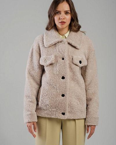 Серая куртка с воротником из овчины Alcato