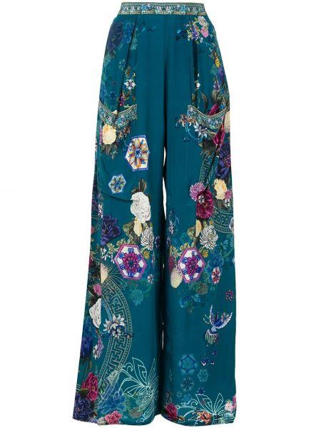 Шелковые брюки - синие Camilla