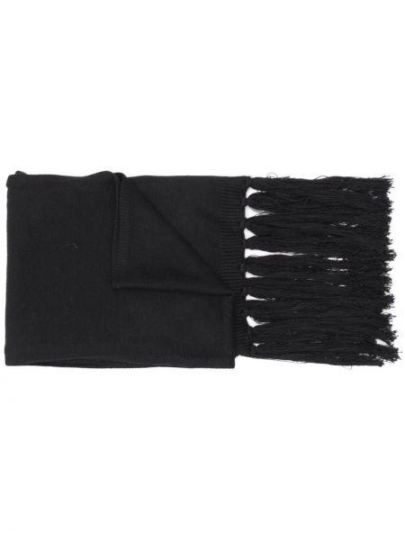 Кашемировый черный вязаный шарф Karl Lagerfeld