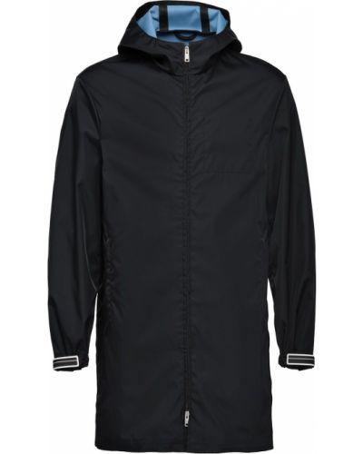 Czarny płaszcz przeciwdeszczowy z długimi rękawami z kapturem Prada