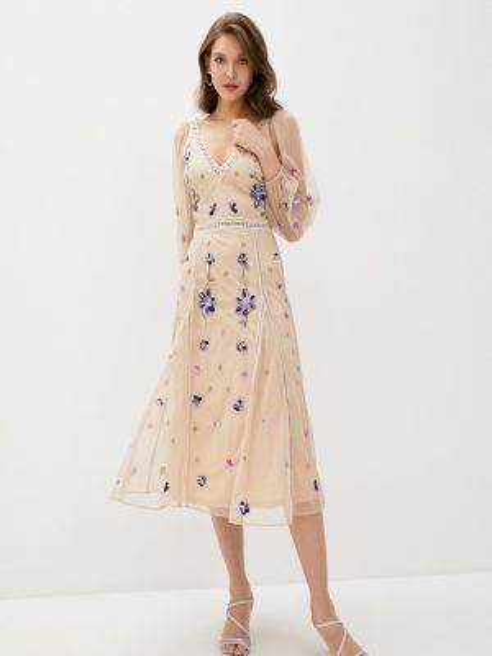 Платье прямое бежевое Frock And Frill