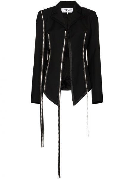 Шерстяной черный пиджак с отворотом Loewe