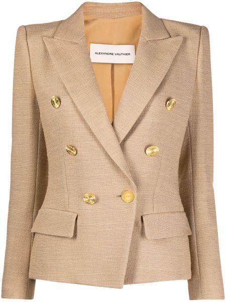 Приталенный удлиненный пиджак двубортный с карманами Alexandre Vauthier