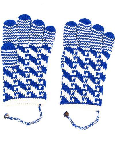 Шерстяные синие перчатки без застежки Bode