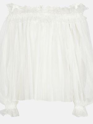 Biała bluzka koronkowa z siateczką Alaã¯a