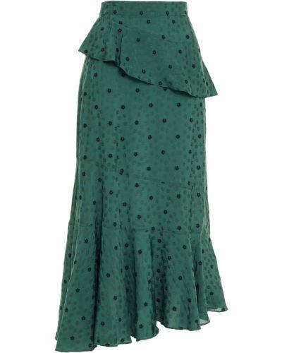 Zielona spódnica midi asymetryczna z wiskozy Alexachung