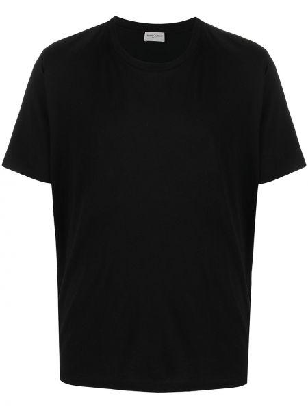Bawełna czarny koszula krótkie rękawy okrągły Saint Laurent
