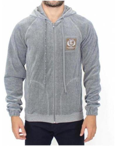 Bawełna szary sweter z kapturem Cavalli