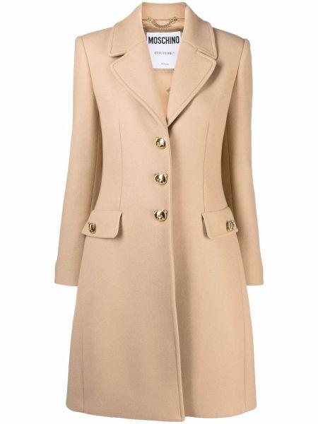 Бежевое пальто с карманами Moschino