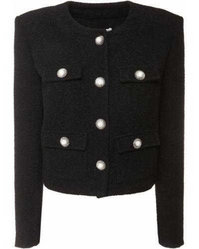 Шерстяная черная куртка с карманами Alessandra Rich