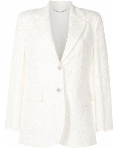 Белый удлиненный пиджак на пуговицах с вышивкой Ermanno Scervino