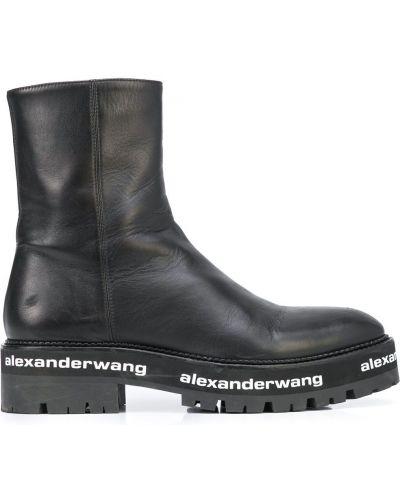 Кожаные ботинки с принтом на молнии Alexander Wang