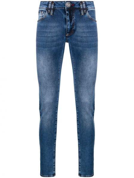 Zawężony niebieski obcisłe dżinsy z kieszeniami z łatami Philipp Plein