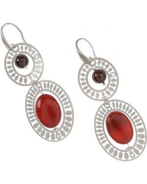 Czerwone kolczyki sztyfty srebrne z agatem Ziio