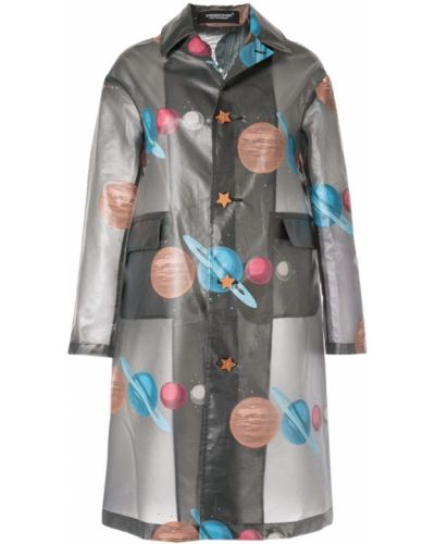 Черное пальто классическое с капюшоном с воротником Undercover