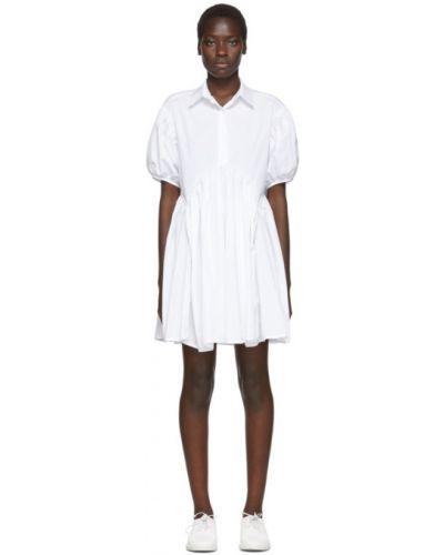 Хлопковое с рукавами белое платье с воротником Cecilie Bahnsen