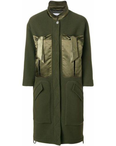Шерстяное пальто с капюшоном хаки Moschino