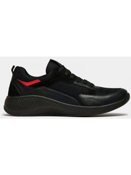 Текстильные черные кроссовки на толстой подошве на шнуровке Ralf Ringer