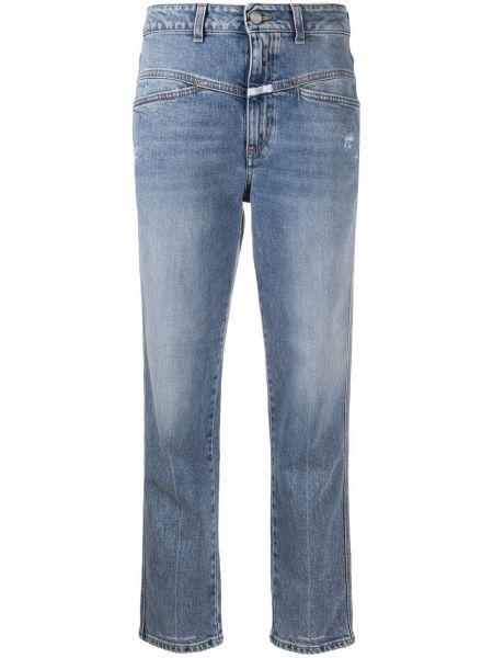 Синие хлопковые укороченные джинсы стрейч Closed